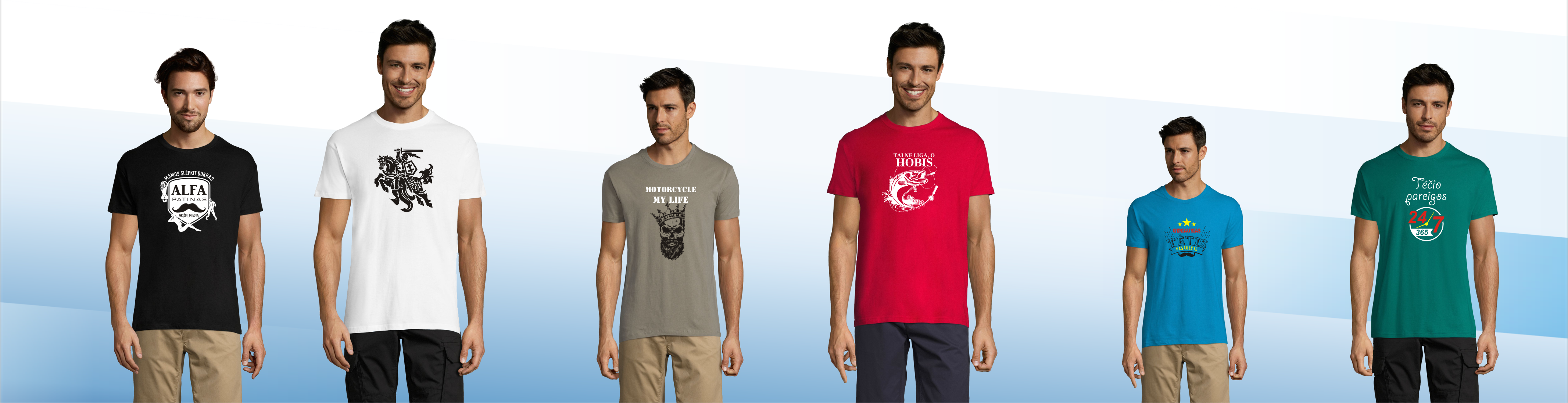 Platus vyriškų marškinėlių pasirinkimas