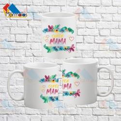 Puodelis SUPER MAMA (su gėlėmis)