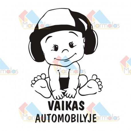 Lipdukas VAIKAS AUTOMOBILYJE (kudikis su ausinėm)