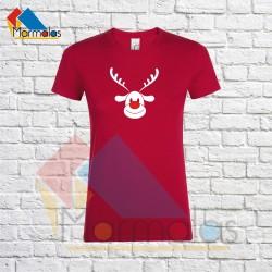 MOTERIŠKI KALĖDINIAI  marškinėliai su elniu raudona nosimi