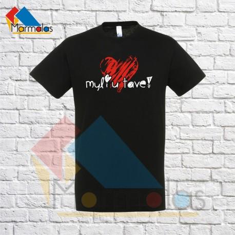 Vyriški Marškinėliai MYLIU TAVE (su širdele)